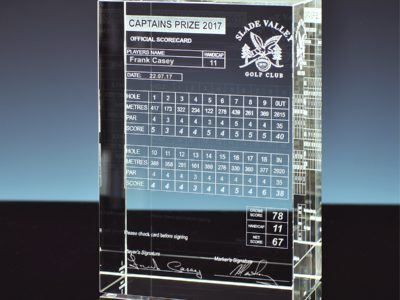 Laser Engraved Crystal Block Golf Scorecard