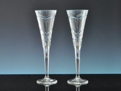 Dublin Crystal heart Champagne Flutes engraved